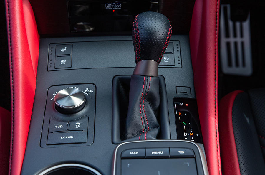 Lexus RC F with track pack 2019 first drive review - gearstick