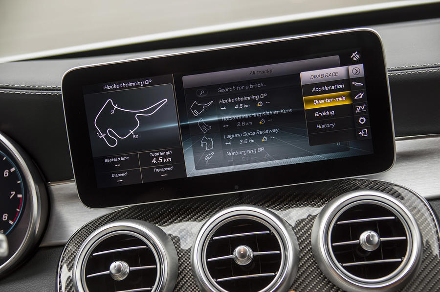 Mercedes-AMG C63 2018 first drive review infotainment screen