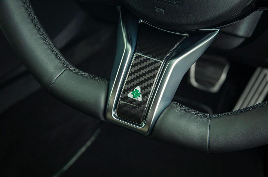 Alfa Romeo Giulia Quadrifoglio 2020 UK first drive review - steering wheel