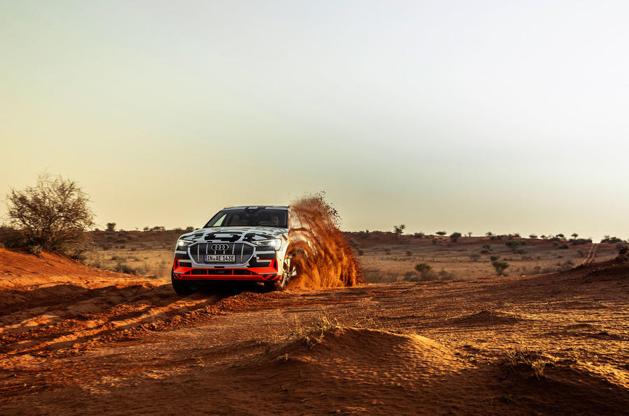 Audi e-Tron 2019 prototype first drive review - cornering dust