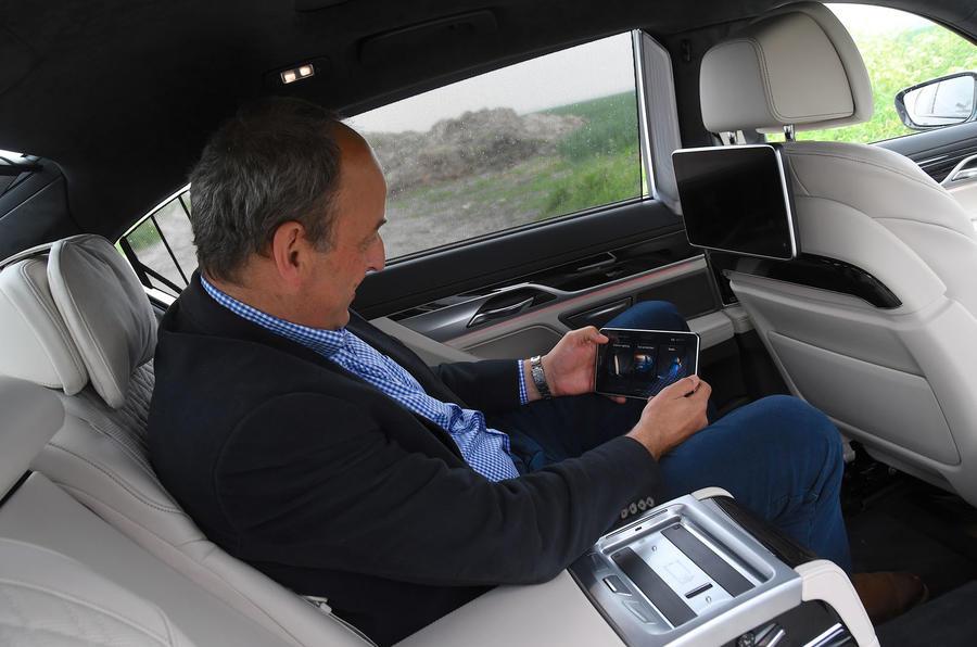 BMW 7 Series 740Ld long-term review Frankel rear infotainment