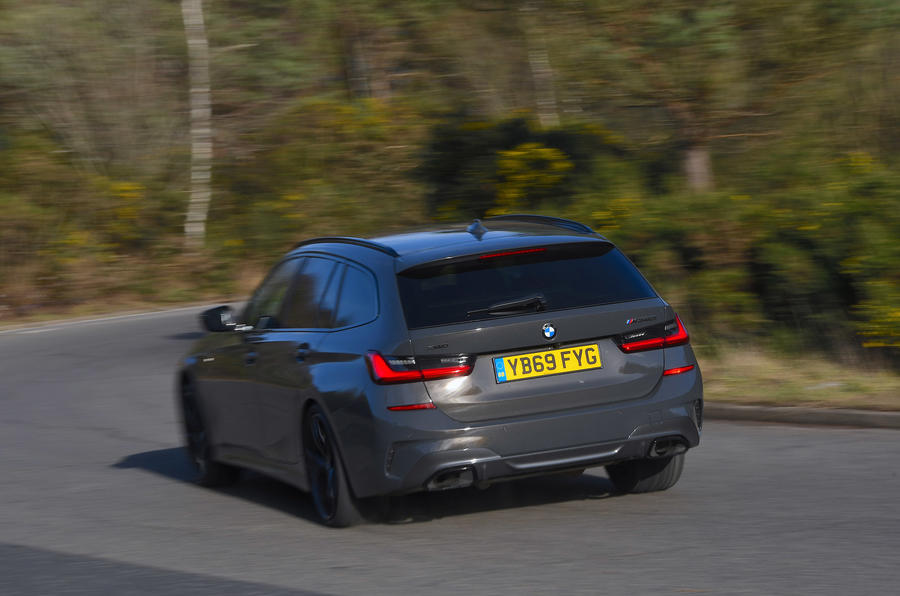 BMW 3 Series Touring M340i 2020 UK first drive review - cornering rear