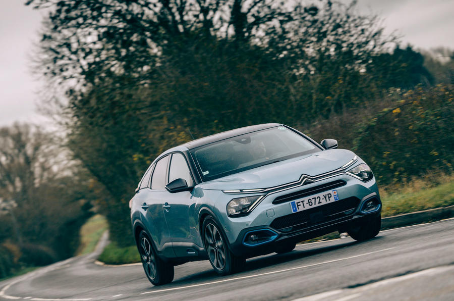 Citroen e C4 2020 LHD first drive review - on the road front