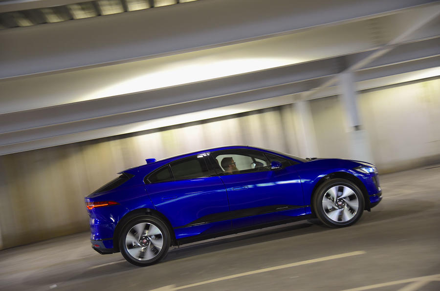 Jaguar I-Pace EV400 UK first drive review on the road side angle