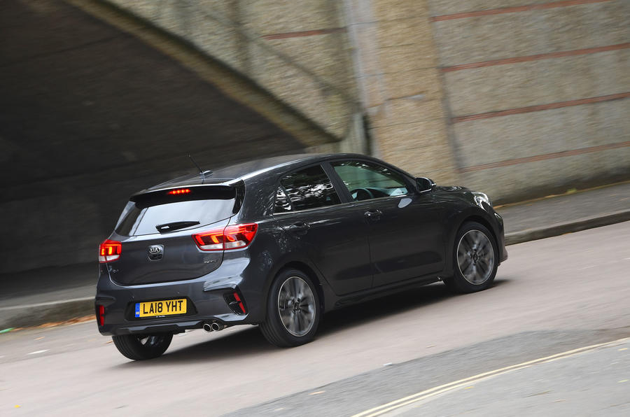 Kia Rio GT Line 2018 UK first drive review cornering rear