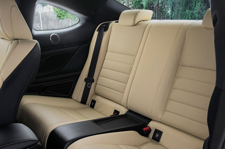 Lexus RC 300h 2019 first drive review - rear seats