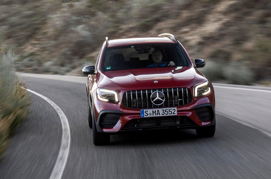 Mercedes-AMG GLB 35 2020 first drive review - cornering front