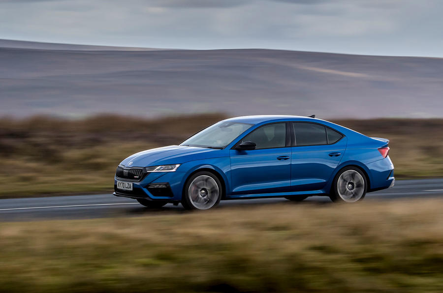 Skoda Octavia vRS TDI 2021 UK first drive review - on road front
