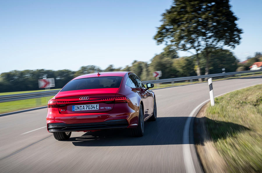 Audi A7 TFSI e 2019 first drive review - on the road rear