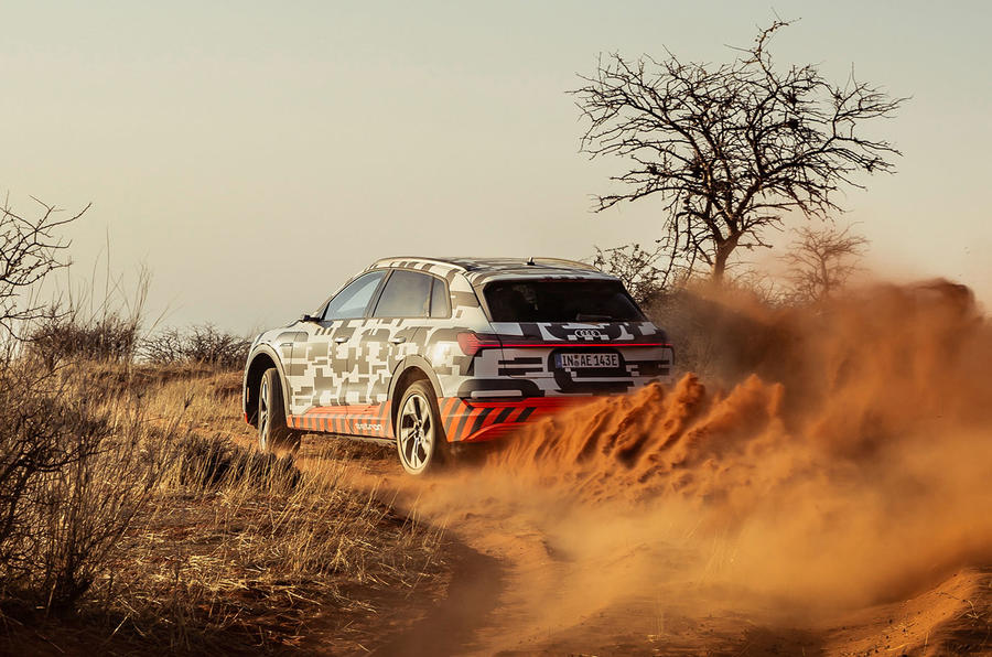 Audi e-Tron 2019 prototype first drive review - cornering rear