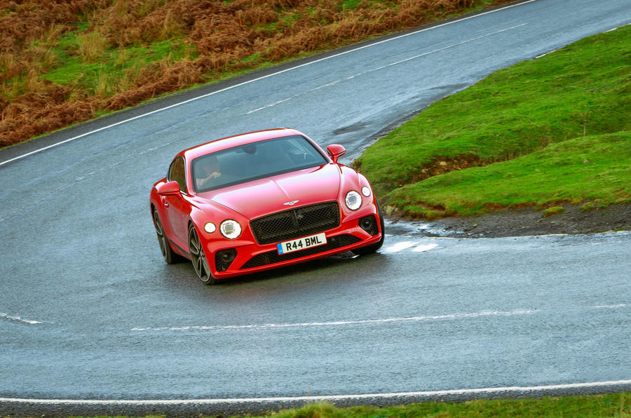 Bentley Continental GT V8 2020 UK first drive review - cornering front