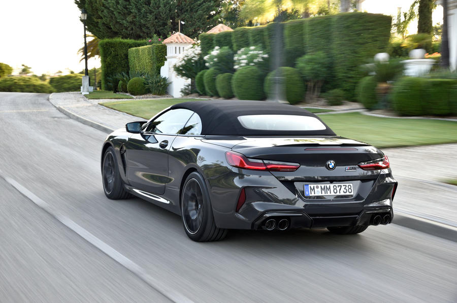 BMW M8 Competition Convertible 2019 first drive review - on the road rear