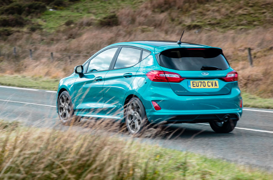Ford Fiesta EcoBoost mHEV 2020 UK first drive review - on the road rear