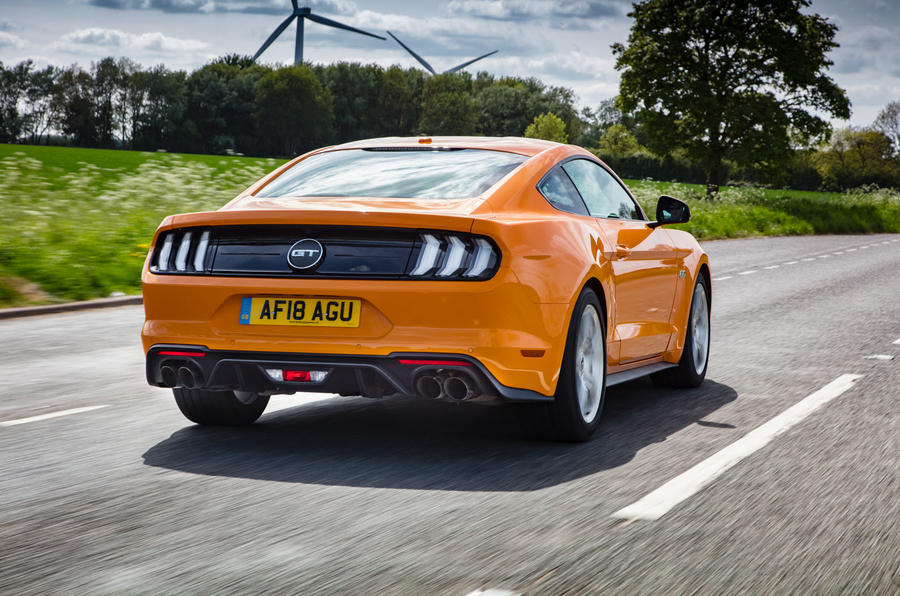 Ford Mustang GT 5.0 2018 UK review on the road rear