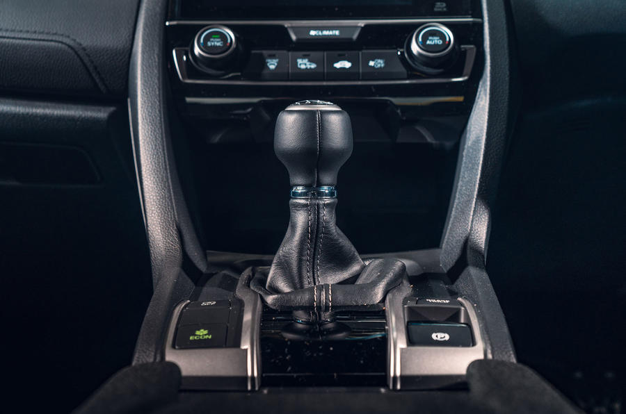 Honda Civic saloon 2018 UK first drive review gearlever
