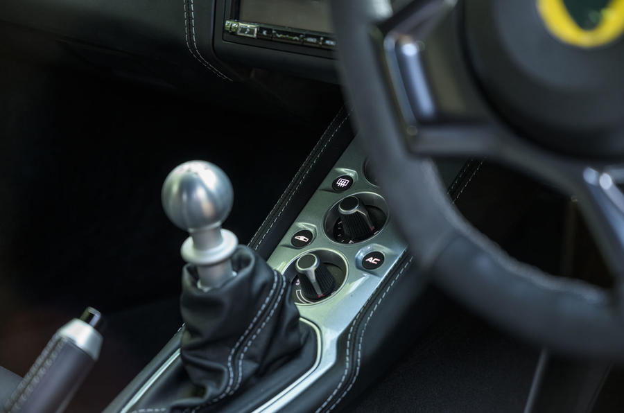 Lotus evora GT410 2020 UK first drive review - gearstick