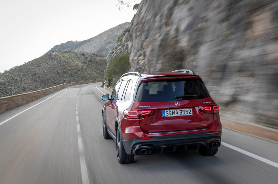 Mercedes-AMG GLB 35 2020 first drive review - cornering rear