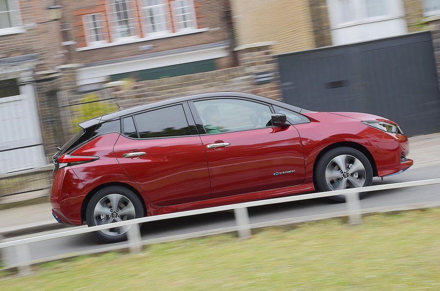 Nissan Leaf 62kWh 2019 UK first drive review - on the road side
