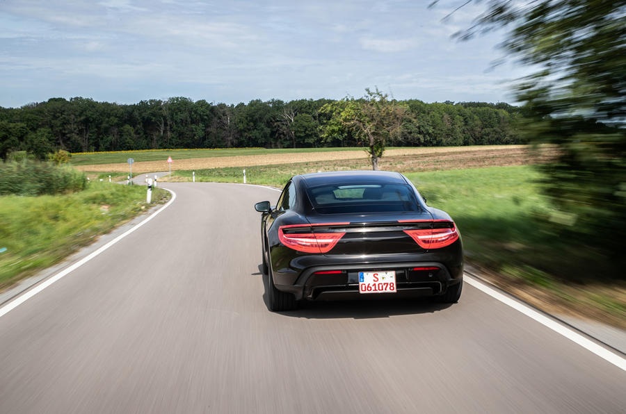 Porsche Taycan 2020 first drive review - road driving rear