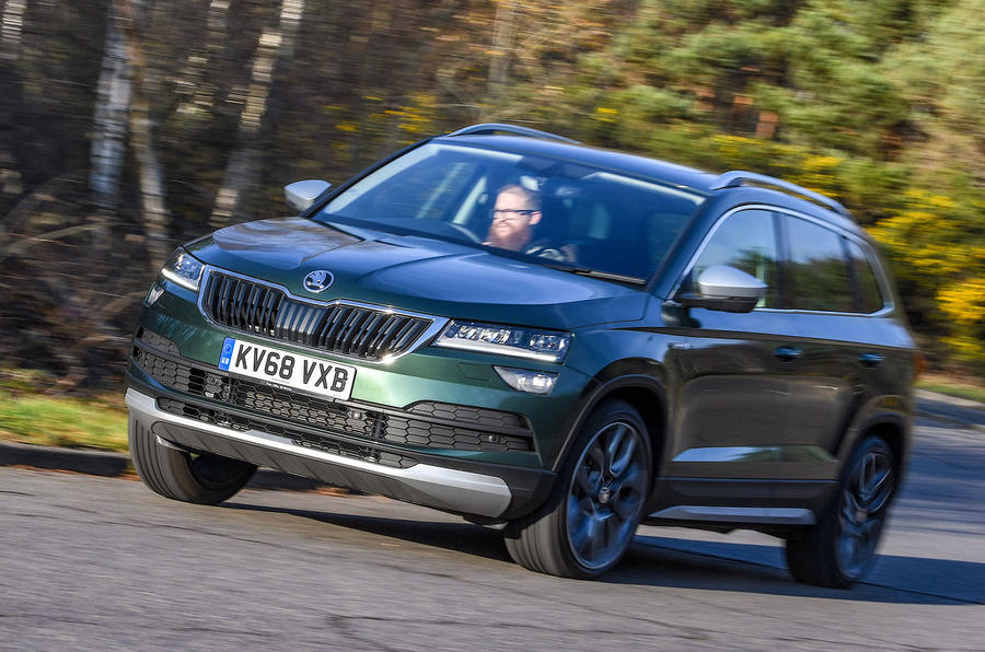 Skoda Karoq Scout 2019 first drive review - cornering front