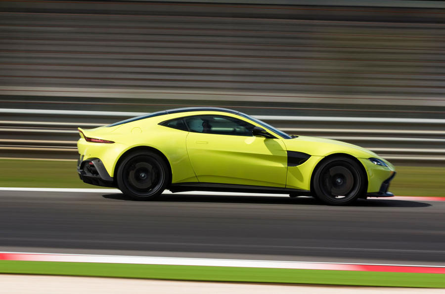 Aston Martin Vantage on the track side