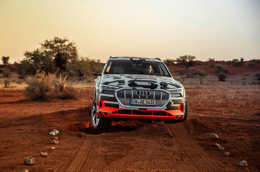 Audi e-Tron 2019 prototype first drive review - offroad front