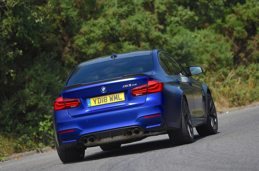 BMW M3 CS 2018 UK first drive review cornering rear