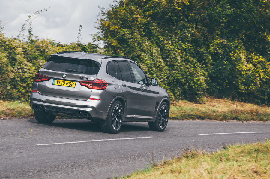 BMW X3 M Competition 2019 UK first drive review - cornering rear