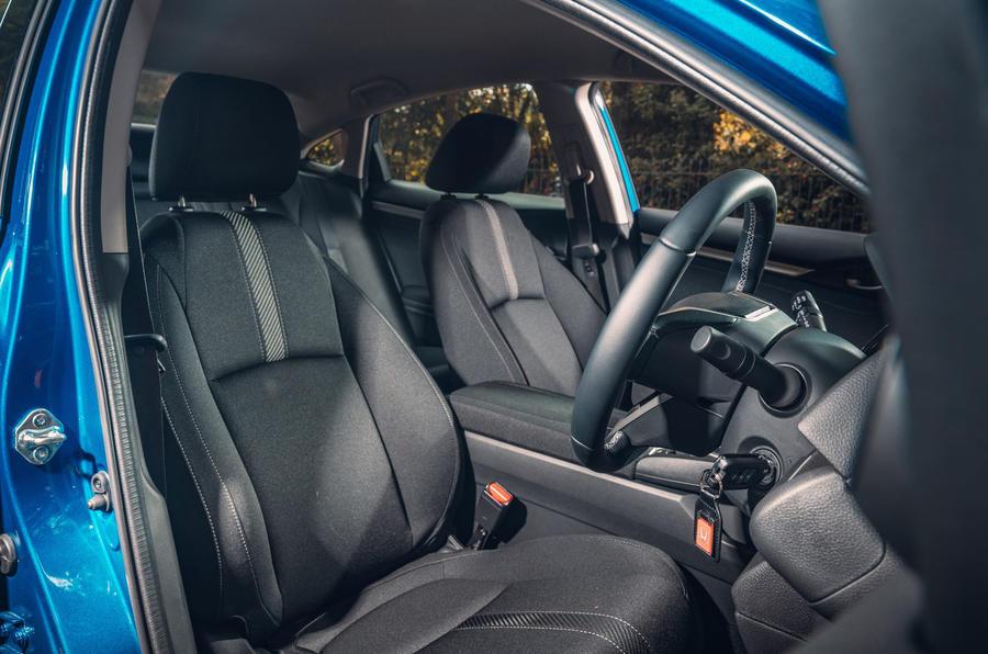 Honda Civic saloon 2018 UK first drive review front seats