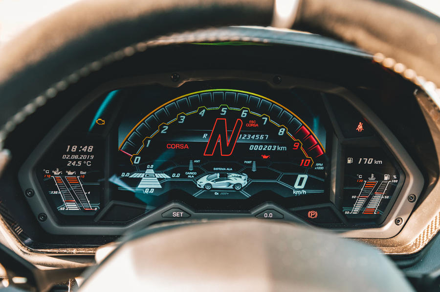 Lamborghini Aventador SVJ Roadster 2019 first drive review - instruments