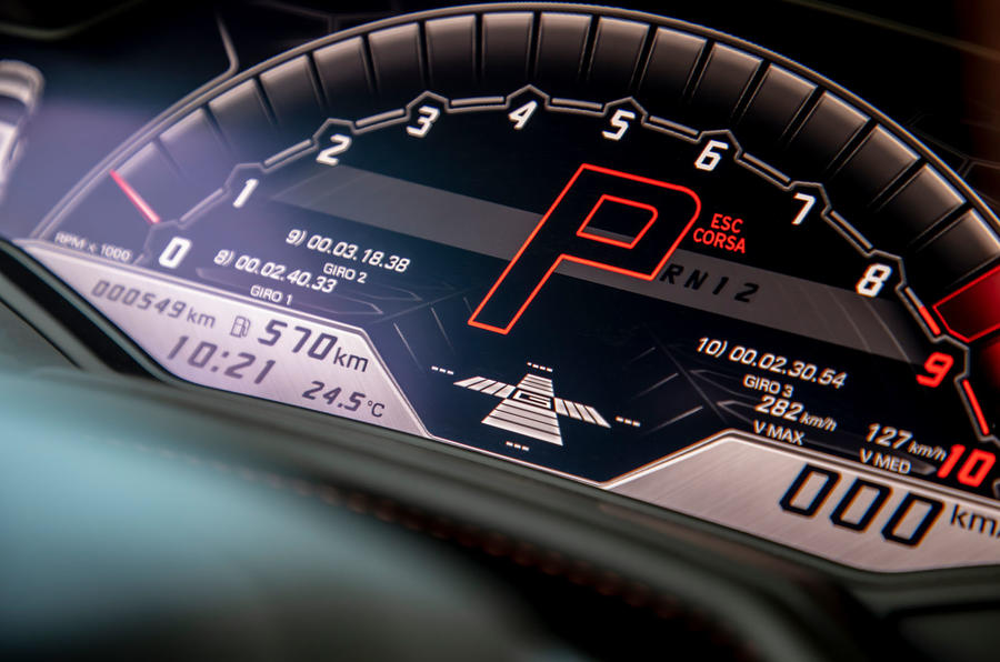Lamborghini Huracan Evo 2019 first drive review - instrument cluster