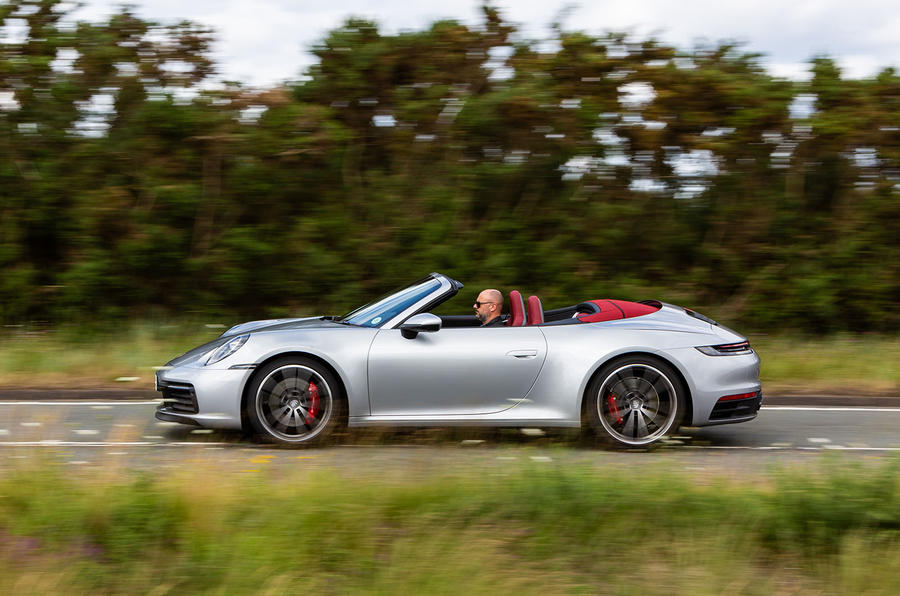 Porsche 911 Carrera 4S Cabriolet 2019 UK first drive review - on the road side
