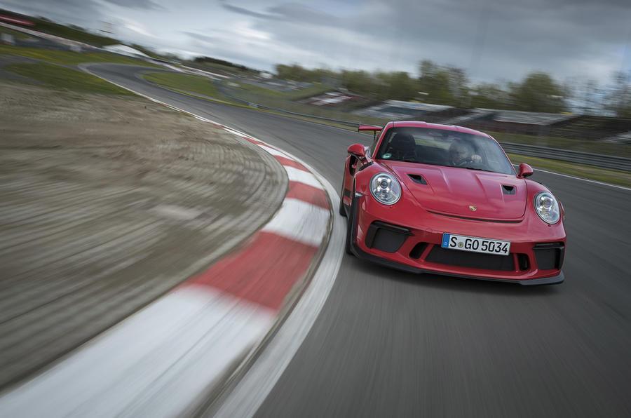 Porsche 911 GT3 RS 2018 review cornering front