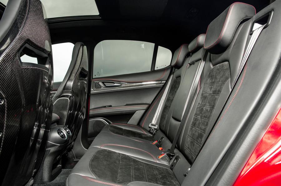Alfa Romeo Stelvio Quadrifoglio 2018 UK RHD first drive - rear seats