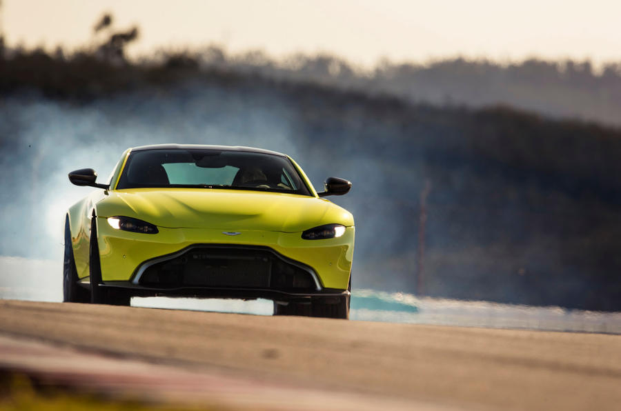 Aston Martin Vantage track driving front