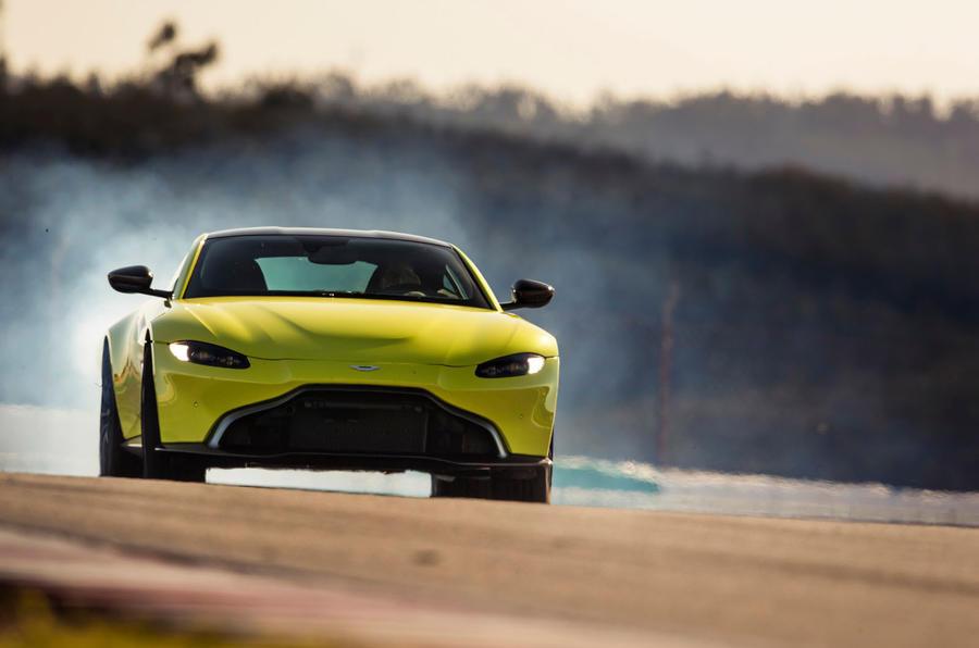 Aston Martin Vantage track driving front