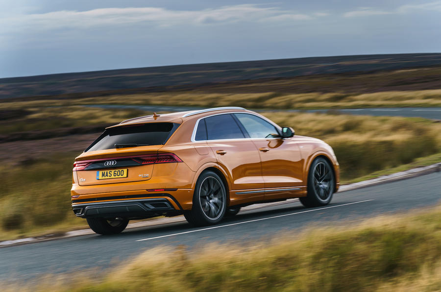 Audi Q8 50 TDI Quattro S-Line 2018 UK first drive cornering rear