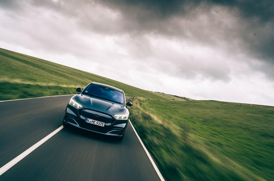 Ford Mustang Mach E 2021 UK first drive review -  on the road nose