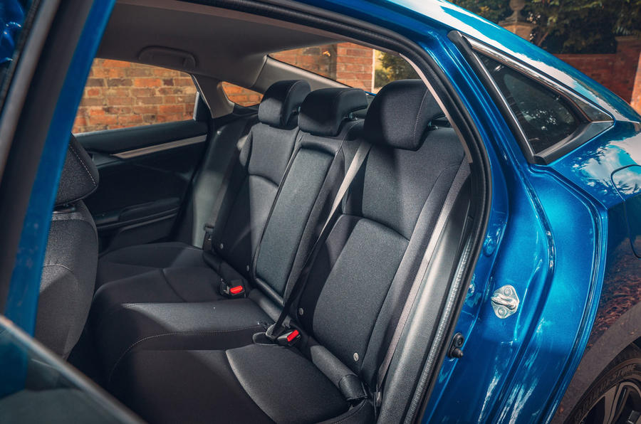 Honda Civic saloon 2018 UK first drive review rear seats
