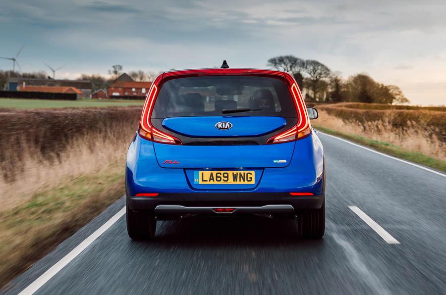 Kia Soul EV 2020 UK first drive review - on the road rear