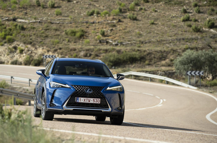 Lexus UX300e 2020 UK first drive review - cornering front