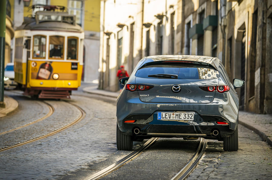Mazda 3 2019 European first drive review - city driving rear