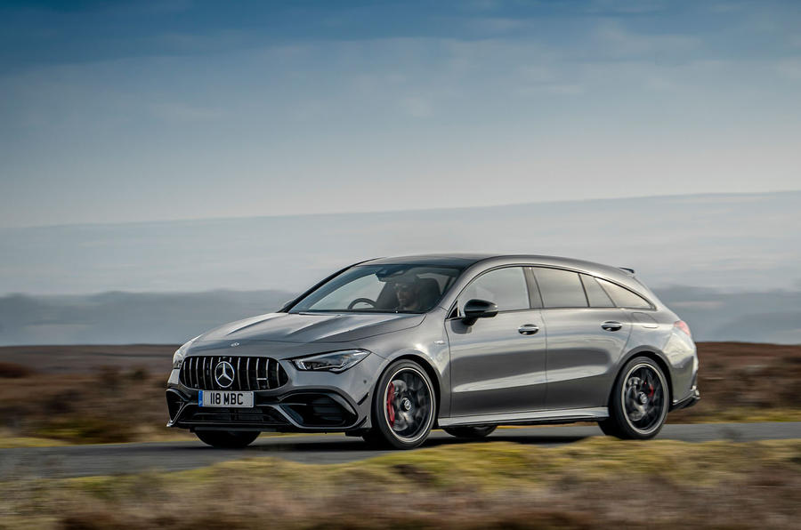 Mercedes-AMG CLA 45 S Shooting Brake 2020 UK first drive review - on the road side