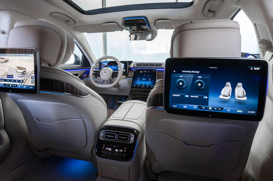 Mercedes-Benz S Class S580e 2020 first drive review - rear infotainment