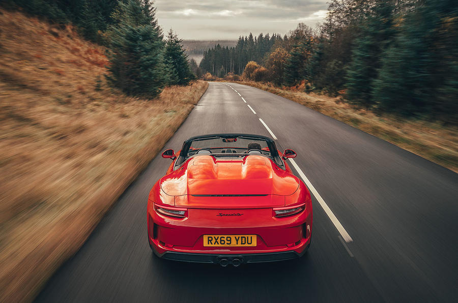 Porsche 911 Speedster 2019 UK first drive review - on the road rear