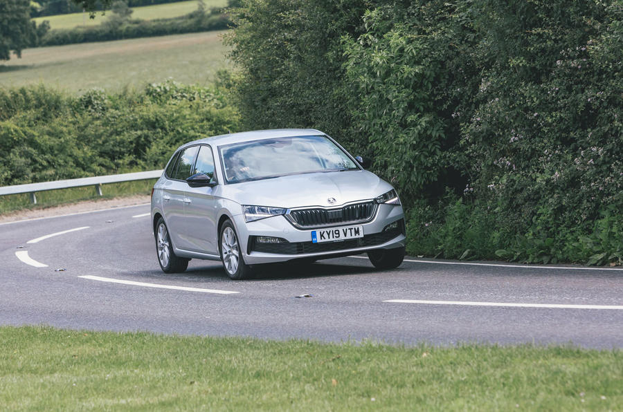 Skoda Scala 1.5 TSI SE 2019 UK first drive review - cornering front