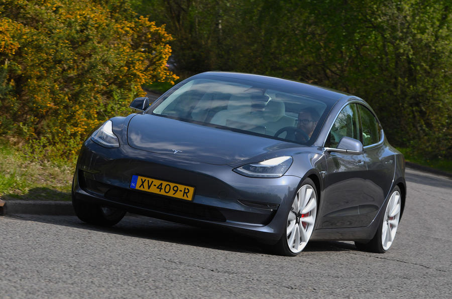 Tesla Model 3 Performance 2019 UK first drive review - cornering front