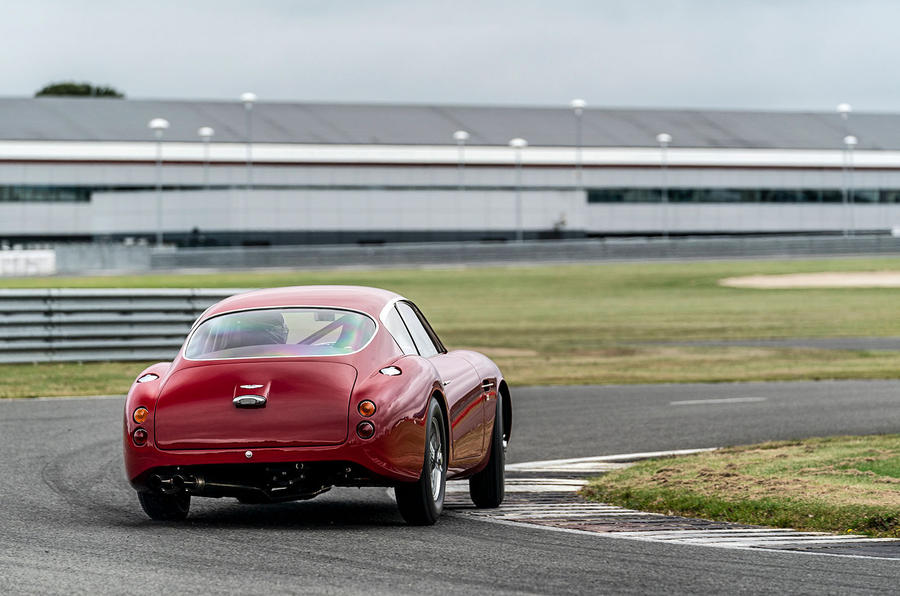 Aston Martin DB4 Zagato Continuation 2019 first drive review - cornering rear