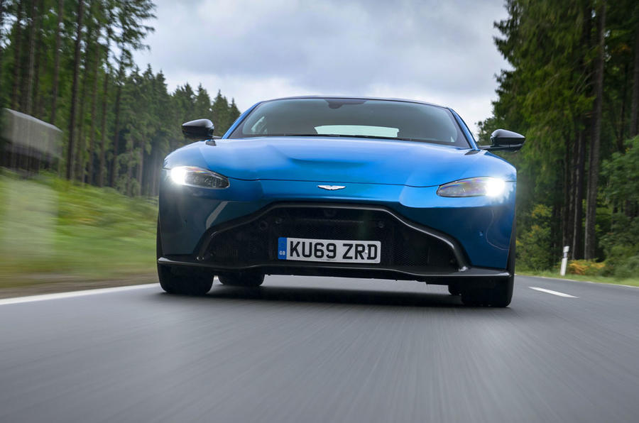 Aston Martin Vantage manual 2019 first drive review - on the road nose