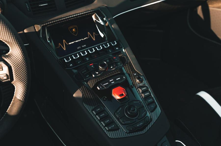 Lamborghini Aventador SVJ Roadster 2019 first drive review - centre console